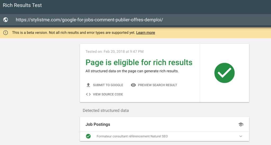google fors jobs test de validité éligible