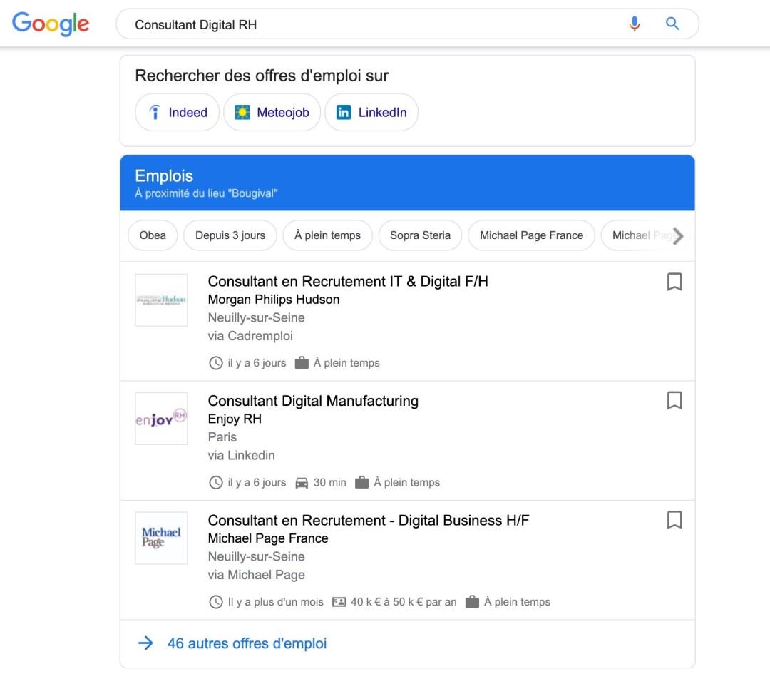 Google for jobs annonce recrutement comment apparaitre sur google