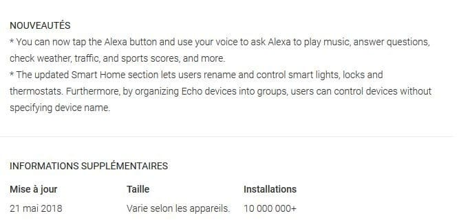 mise à jour amazon alexa android