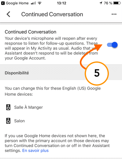 Conversation continue Google Home configurer 5