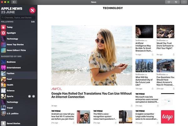 app news avec macOS Mojave