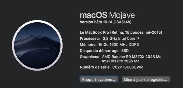 macOS Mojave version beta 10.14 18A314h