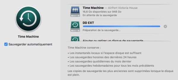 Télécharger et installer macOS Mojave avertissement sauvegarde