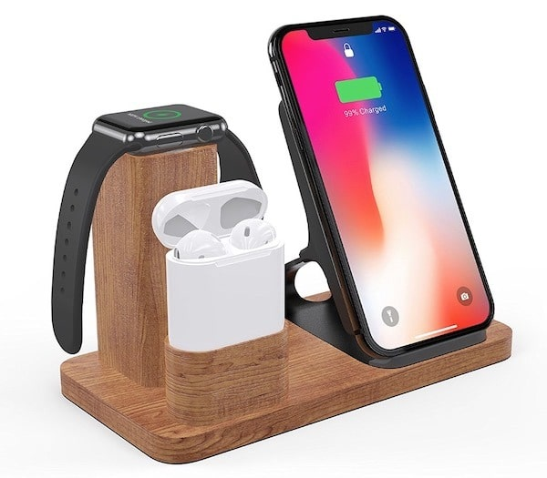 chargeur bois apple watch iphone airpods Olvoo