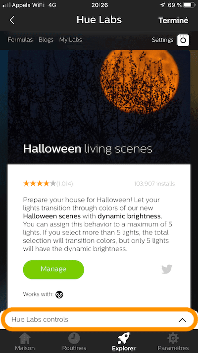 Halloween lumière ambiance hue labs