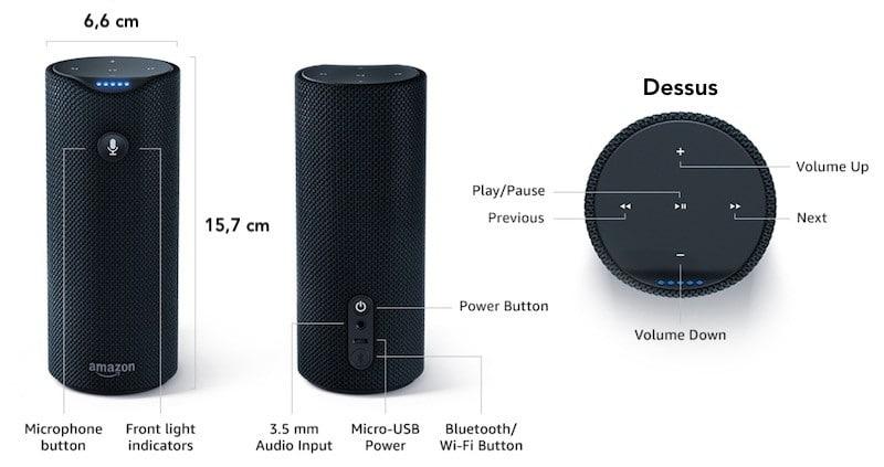 Echo Tap caractéristiques techniques dimensions