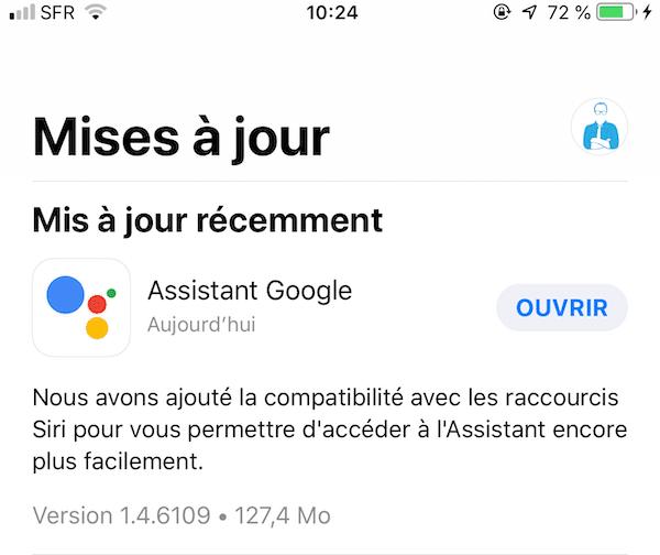 mise à jour Siri Google Assistant