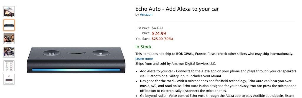 Amazon Echo auto début des ventes
