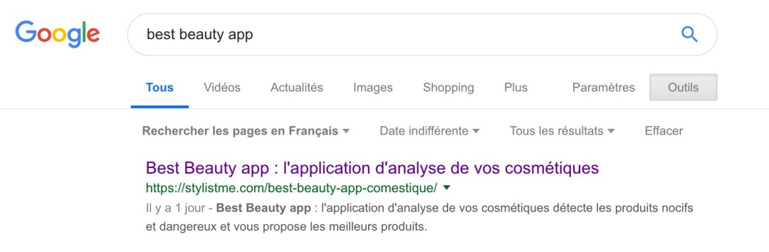 Beast beauty app reference naturel SEO 1ere position