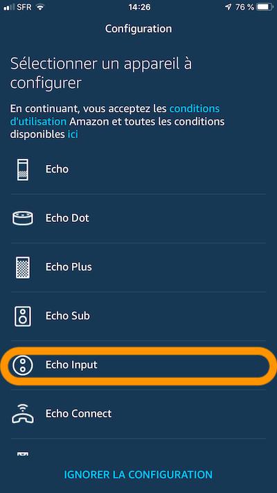 installation echo input configuration ajout alexa