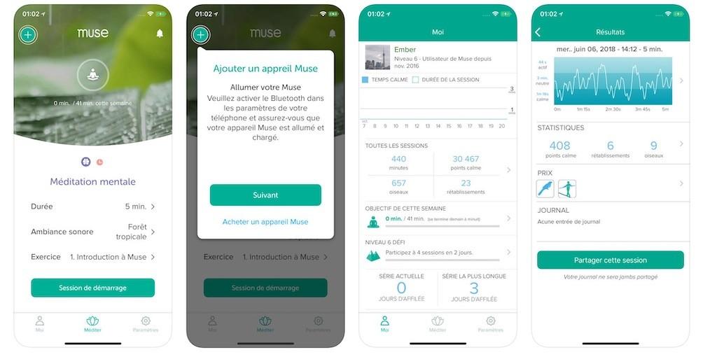 Muse 2 avis test prix bandeau de méditation connecté app Muse