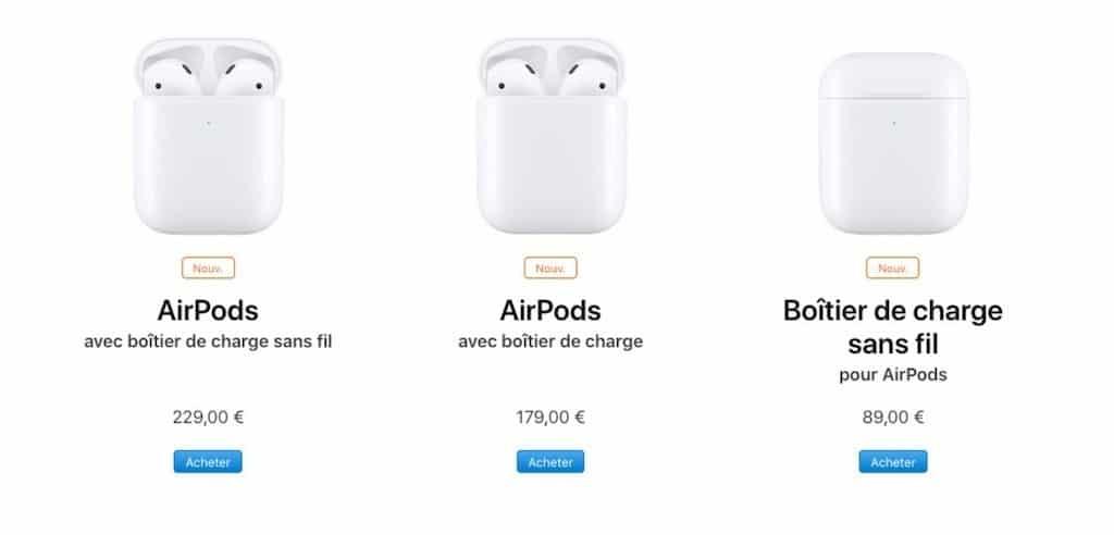 AirPods 2 prix disponibilité pas cher
