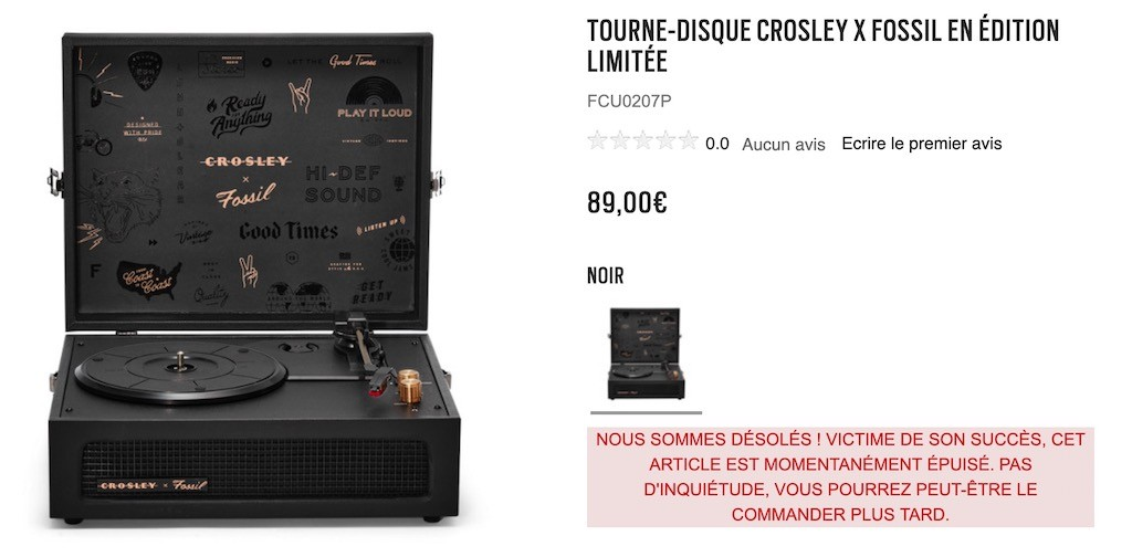 fossil x crosley prix disponibilité ou acheter