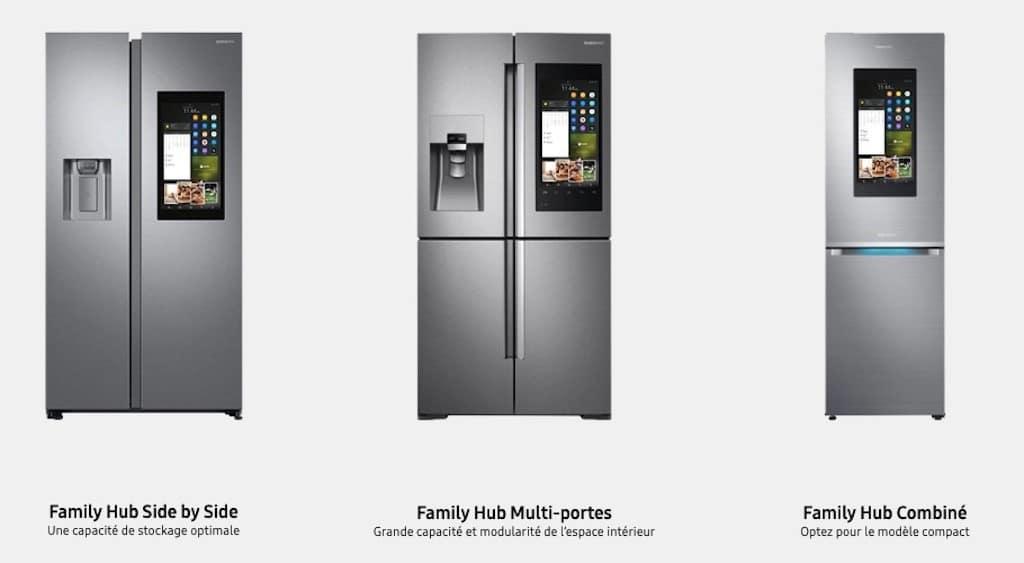 Comparatif réfrigérateur congélateur connecté Samsung