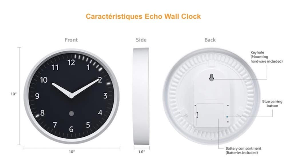 Echo Wall Clock Lhorloge Connectée à Lenceinte Echo Damazon