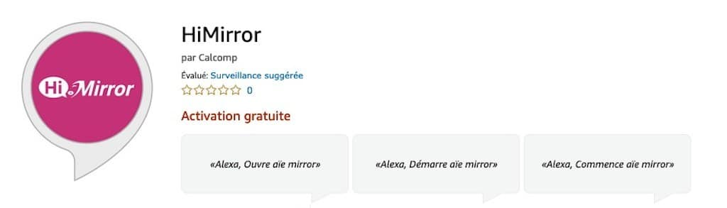 Himirror skill en français avis test miroir connecté