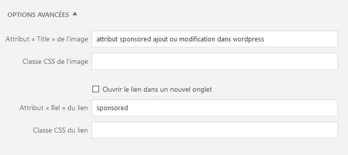 ajout attribut lien sur image wordpress sponsored nofollow