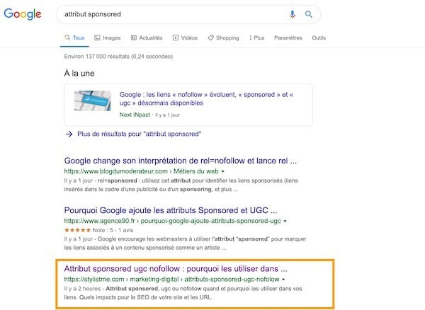 impact seo attribut sponsored ugc