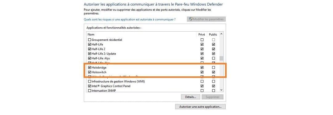 Paramètres windows bitdefender Holoswitch