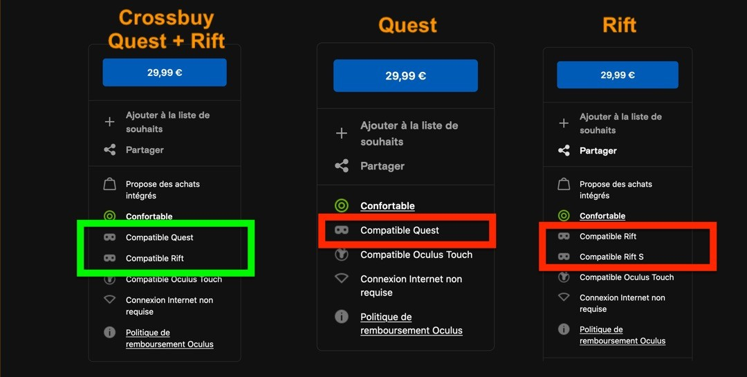 Crossbuy Oculus Quest et Oculus Rift