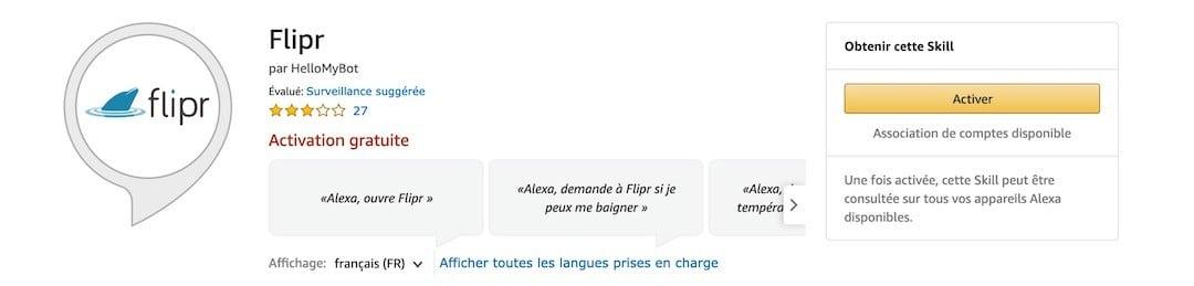 commande vocale Alexa skill Flirp
