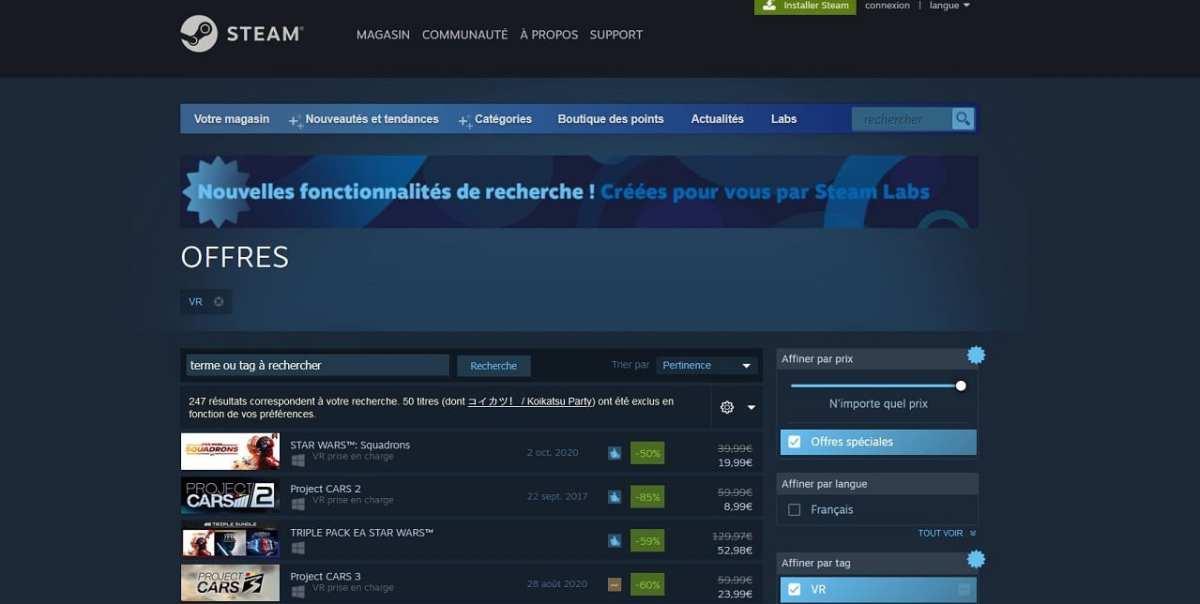 Réduction jeux VR Steam