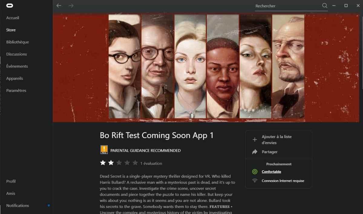 Nouvelles Apps Oculus App PC