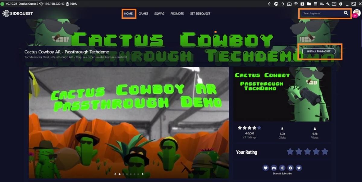 Jeu AR Oculus Quest Cactus Cowboy