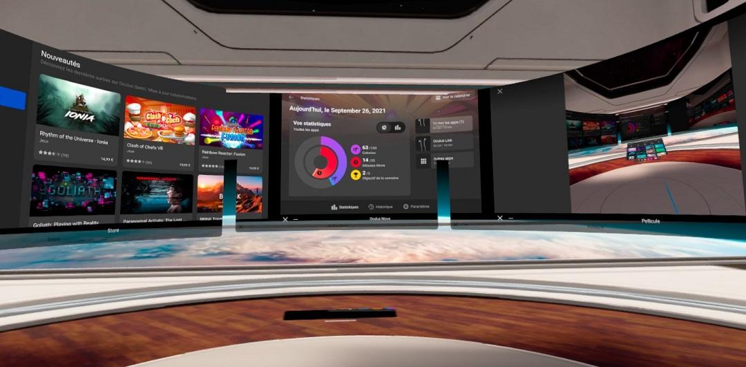 3 écrans multitâches Oculus Quest