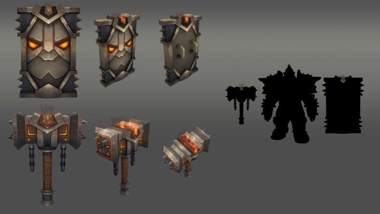 Blazing forge Dark iron Dwarf weapon set  by Alejandro Sanchez