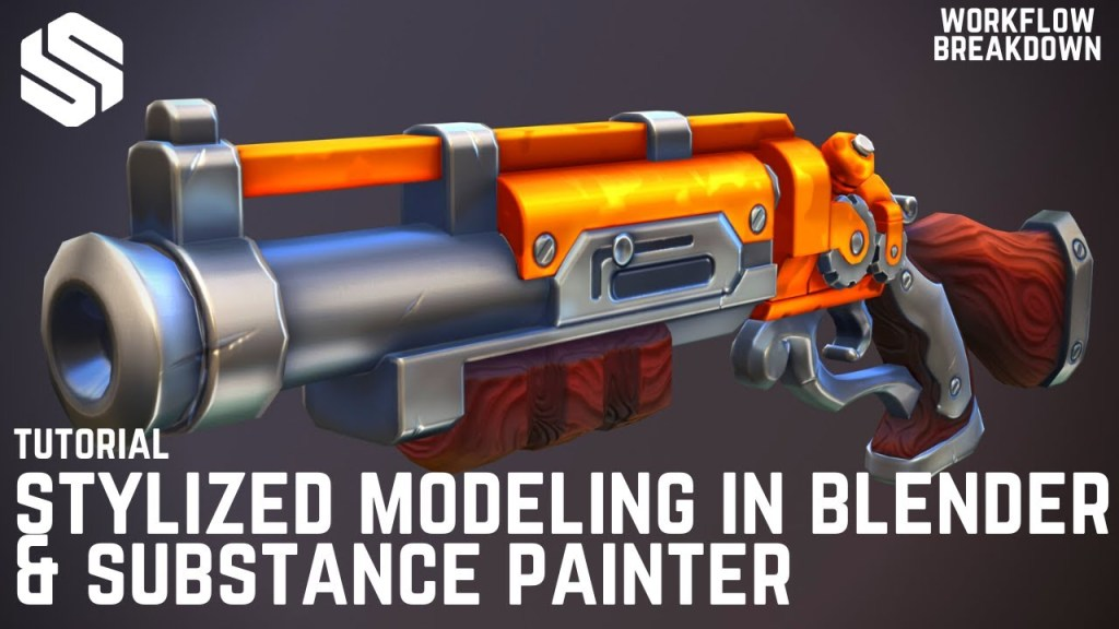 STYLIZED Shotgun in Blender and Substance Painter with Breakdown