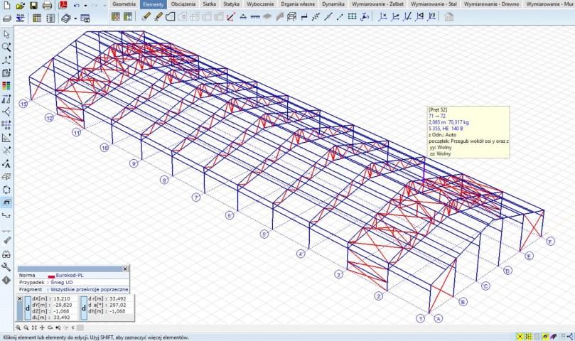 Projektowanie konstrukcji nośnej przy użyciu zaawansowanego programu 2D/3D.