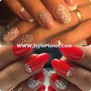chic rhinestones nail art design