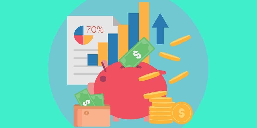 Dinheiro, moedas, cofrinho, indicadores, querendo mostrar que investir dinheiro é o segredo pra enriquecer.