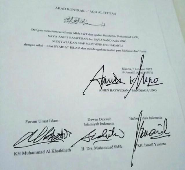 Hoax! Kontrak Politik Anies-Sandi Siap Usung Syariat Islam