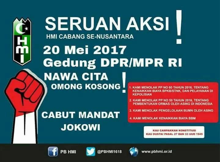 Seruan Aksi HMI Cabut Mandat Presiden Jokowi Pada 20 Mei Adalah Hoax