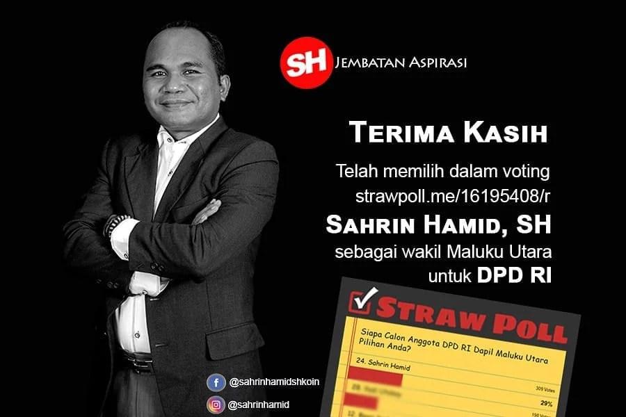Sahrin Hamid Unggul dalam Polling DPD RI di StrawPoll