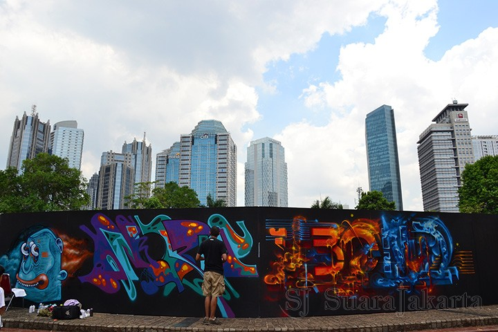 Live graffiti pada Festival Jerin 2013. (Foto: Fajrul Islam)