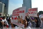 Aksi Forum Pelajar dan Pemuda untuk Pilpres Damai di CFD Bundaran HI