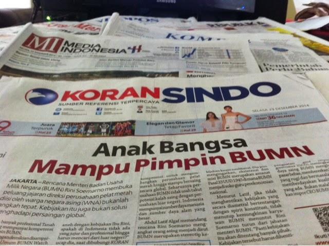 suara jakarta Headline Harian Nasional 23 Desember 2014