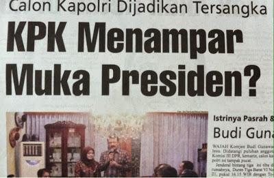 Headline Harian Nasional 14 Januari 2015, KPK Menampar Muka Presiden