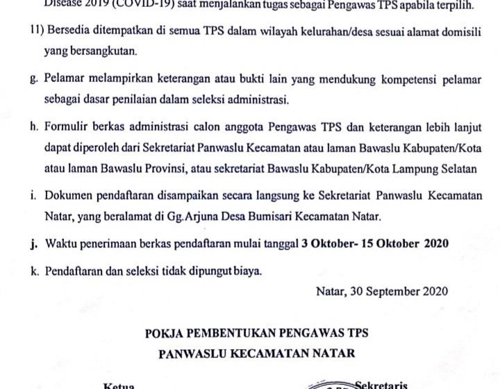 PANWASLUCAM Natar Butuh 337 Orang Pengawas TPS