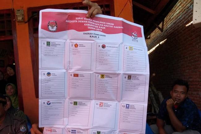 Surat Suara Caleg DPRD Kota Bengkulu TPS 21 Lingkar Barat Tertukar
