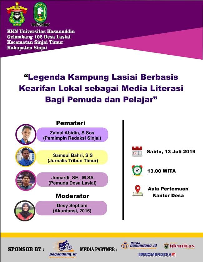 Pamflet KKN Unhas Gelombang 102 Desa Lasiai Gelar Bincang Literasi
