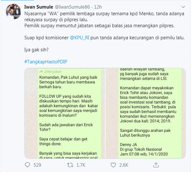 Viral, Diduga Pesan WA Denny JA Minta Jadi Komisaris PT Inalum ke LBP