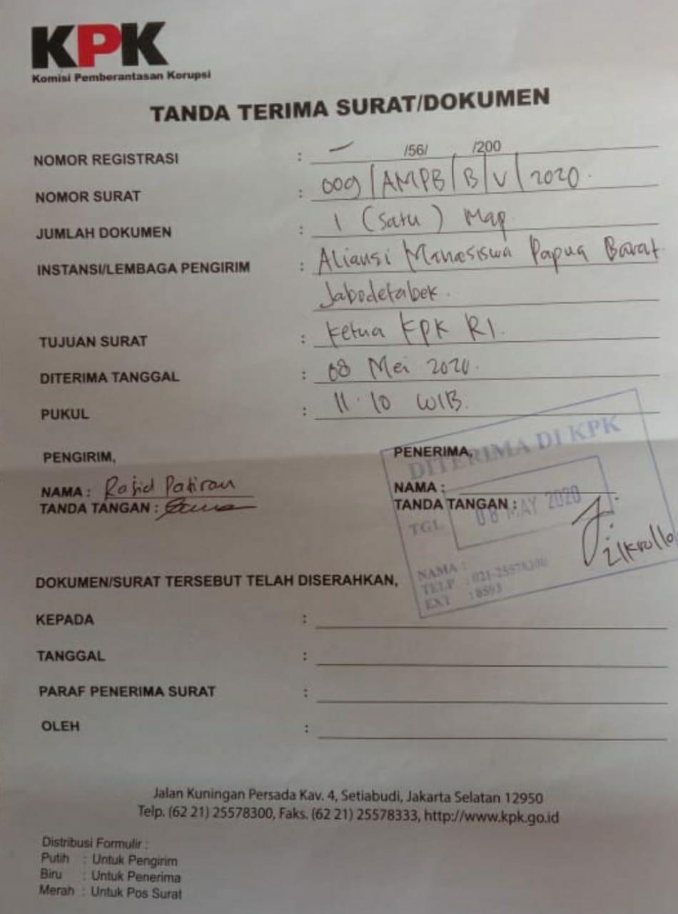 Tnada Terima Laporan AMPB terhadap dugaan Korupsi Walikota Sorong di KPK