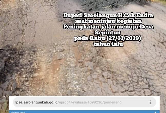 Diaspal Tahun 2019, Kondisi Jalan Simpang Pitco-KM 20 Sudah Rusak Berat.