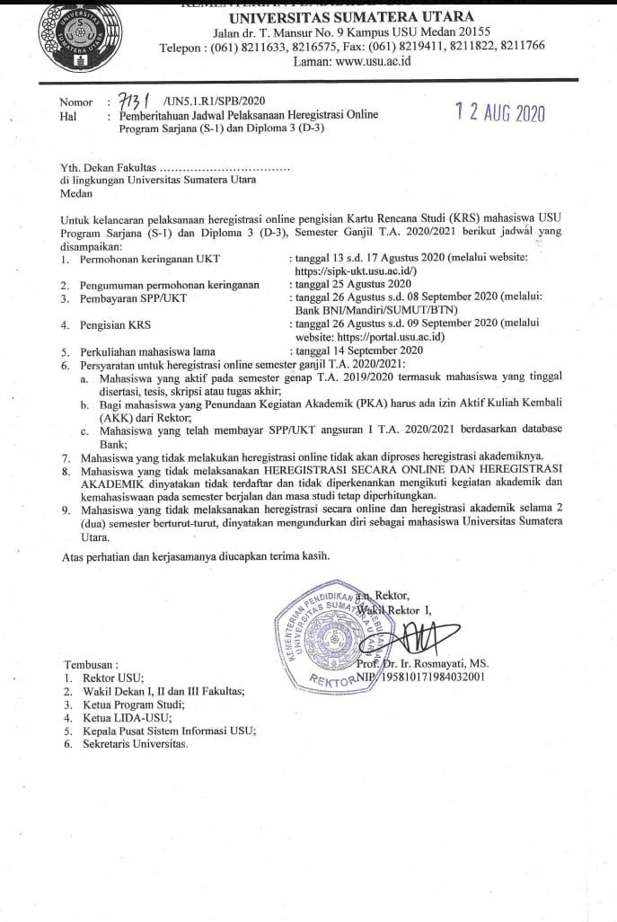 SURAT PEMBERITAHUAN JADWAL PELAKSANAAN HEREGISTRASI ONLINE PROGRAM SARJANA (S-1) DAN DIPLOMA 3 (D-3)