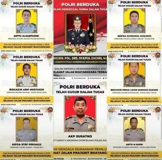 Tercatat 11 Anggota Polri Gugur Sebagai Pahlawan Pengamanan Pemilu 2019, Termasuk Seorang Diantaranya Anggota Polda Kalsel