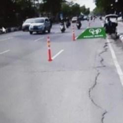 DUA KORIDOR Jalan di Banjarmasin Dibuatkan Jalur Sepeda, Dilengkapi Stick Cone